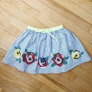 Mini Boden Striped Floral Skirt - Size 3-4